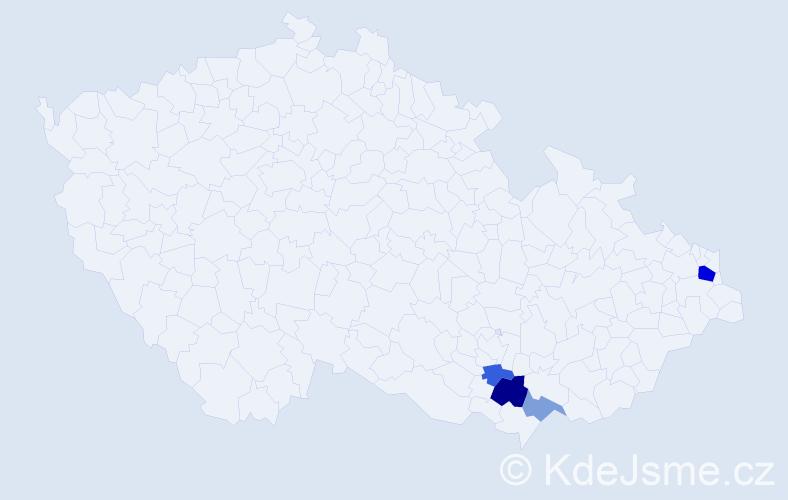 Příjmení: 'Jestřebecká', počet výskytů 8 v celé ČR