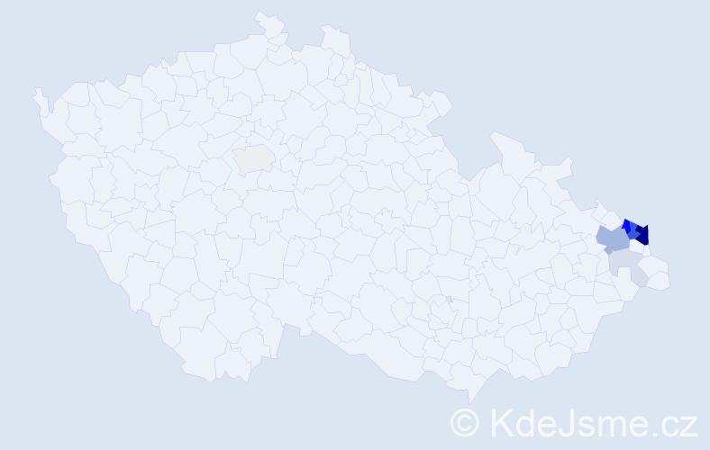 Příjmení: 'Čempelová', počet výskytů 35 v celé ČR