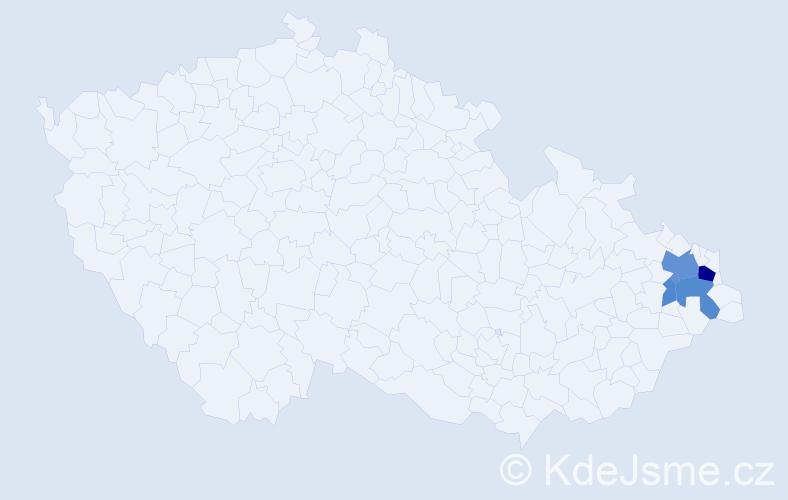 Příjmení: 'Csabi', počet výskytů 11 v celé ČR