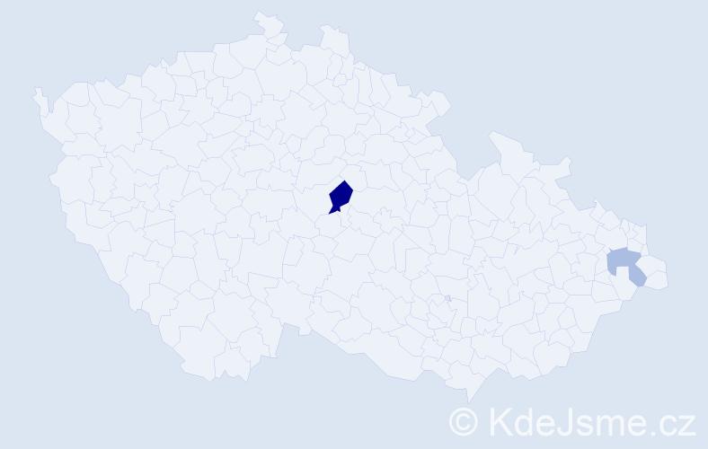 Příjmení: 'Fajnová', počet výskytů 3 v celé ČR