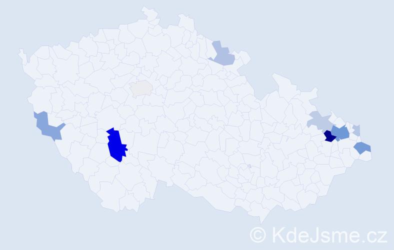 Příjmení: 'Čišecká', počet výskytů 23 v celé ČR