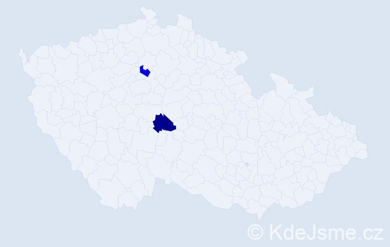 Příjmení: 'Karellová', počet výskytů 4 v celé ČR