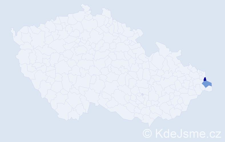 Příjmení: 'Gerčicová', počet výskytů 5 v celé ČR