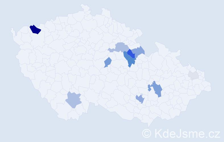Příjmení: 'Bierová', počet výskytů 25 v celé ČR