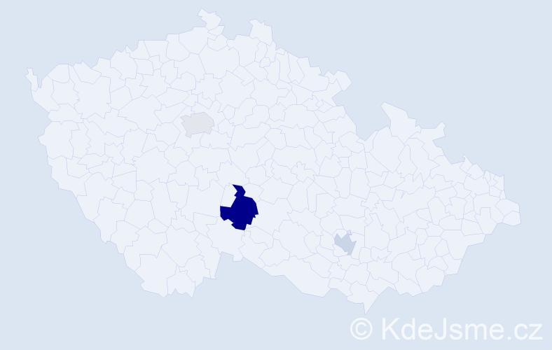 Příjmení: 'Kopkan', počet výskytů 9 v celé ČR