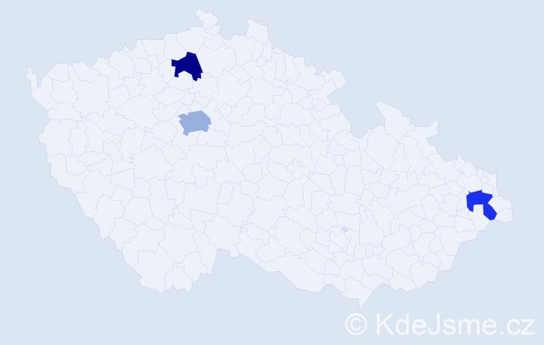 Příjmení: 'Dakov', počet výskytů 4 v celé ČR