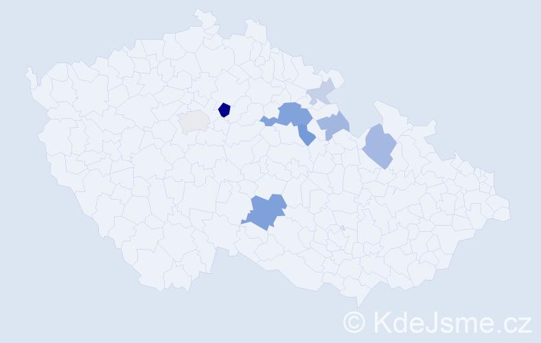 Příjmení: 'Fahrnerová', počet výskytů 20 v celé ČR