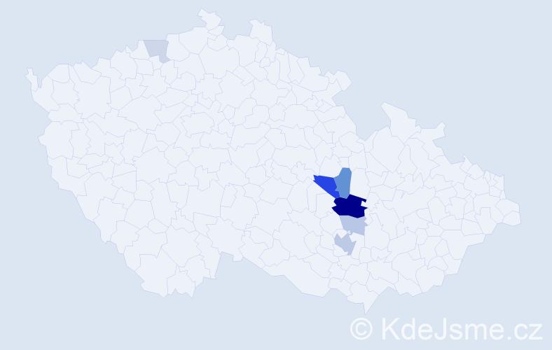 Příjmení: 'Krejstová', počet výskytů 18 v celé ČR