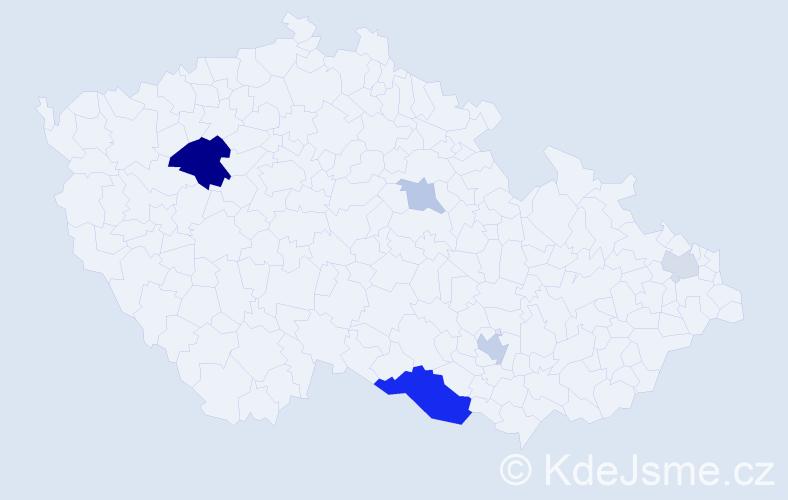 Příjmení: 'Ducárová', počet výskytů 14 v celé ČR