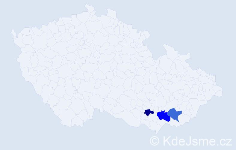 Příjmení: 'Hajdaj', počet výskytů 8 v celé ČR