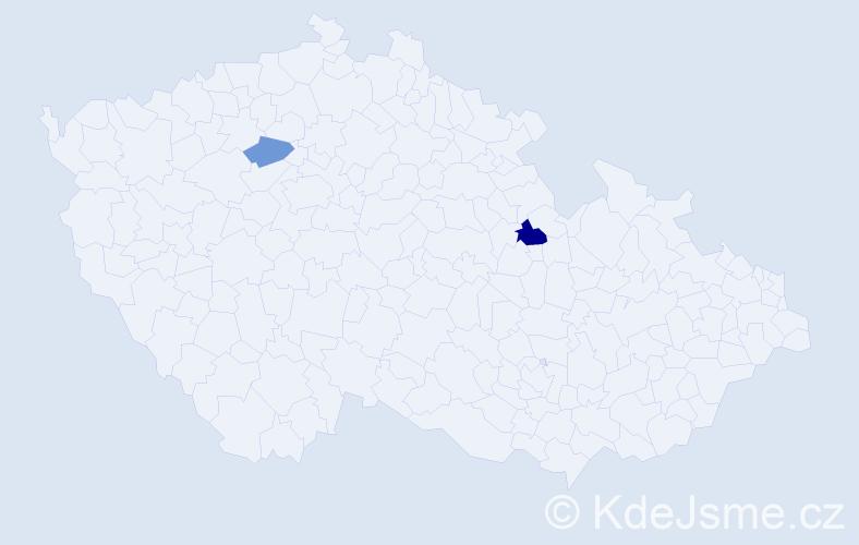 Příjmení: 'Gašpareková', počet výskytů 3 v celé ČR