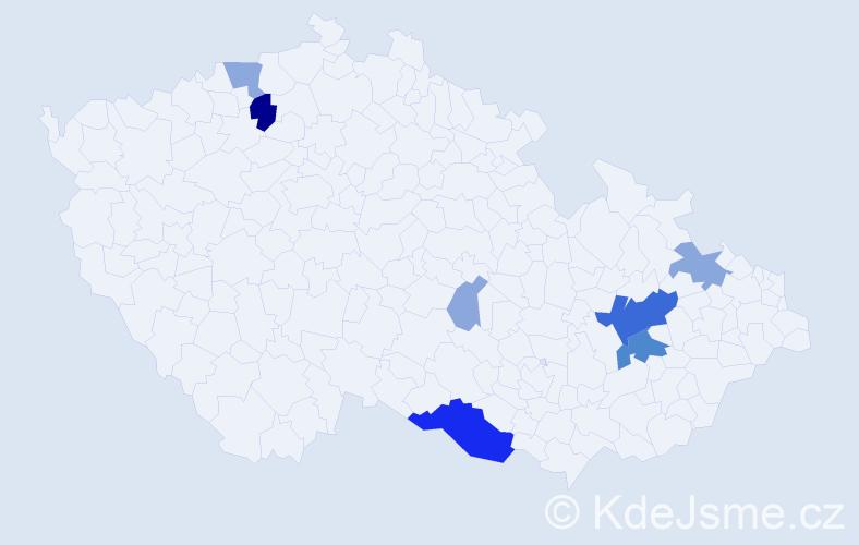 Příjmení: 'Kapaňa', počet výskytů 25 v celé ČR