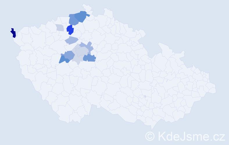 Příjmení: 'Chotětický', počet výskytů 36 v celé ČR