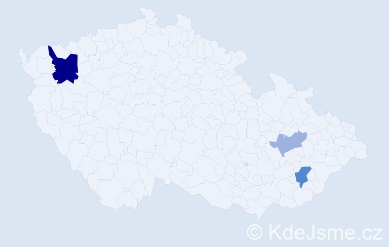 Příjmení: 'Cagaň', počet výskytů 7 v celé ČR