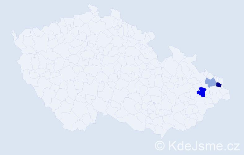 Příjmení: 'Fiľáková', počet výskytů 4 v celé ČR