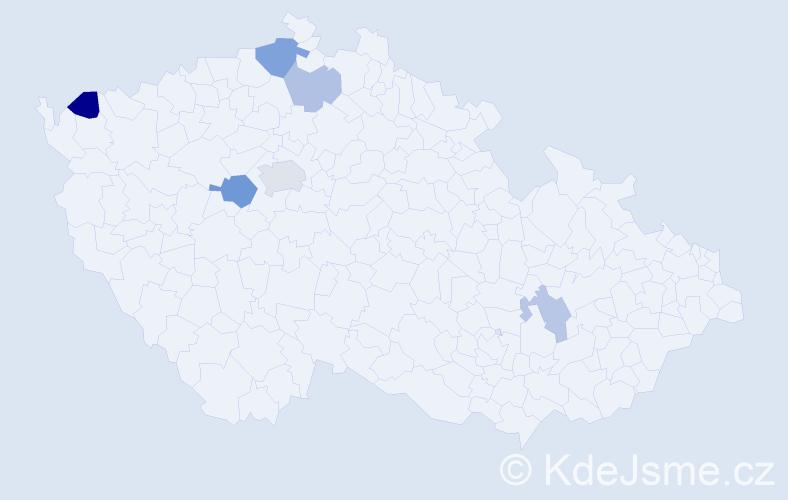 Příjmení: 'Blanická', počet výskytů 20 v celé ČR