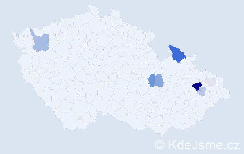 Příjmení: 'Garský', počet výskytů 14 v celé ČR