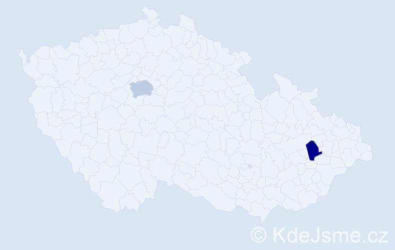 Příjmení: 'Langošová', počet výskytů 3 v celé ČR