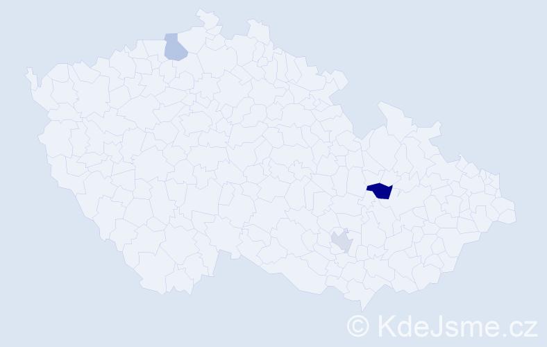 Příjmení: 'Čampišová', počet výskytů 4 v celé ČR