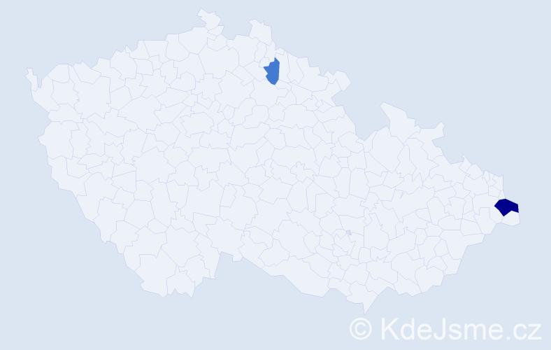 Příjmení: 'Chand', počet výskytů 5 v celé ČR
