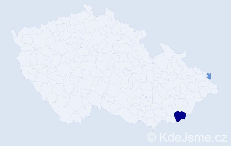 Příjmení: 'Kázik', počet výskytů 6 v celé ČR