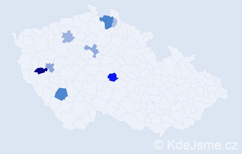 Příjmení: 'Koubovský', počet výskytů 23 v celé ČR