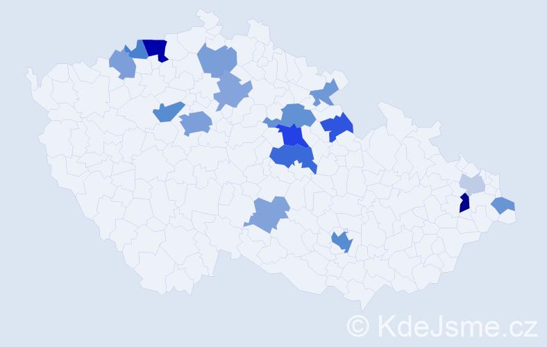Příjmení: 'Kovalčuk', počet výskytů 38 v celé ČR