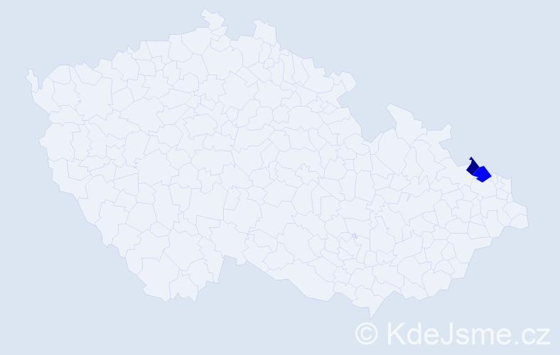 Příjmení: 'Dastík', počet výskytů 5 v celé ČR