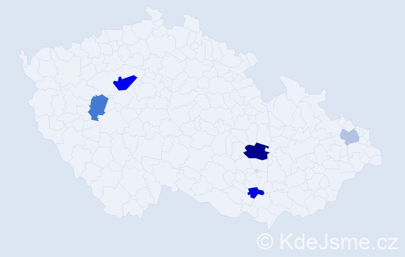 Příjmení: 'Frőmmelová', počet výskytů 8 v celé ČR