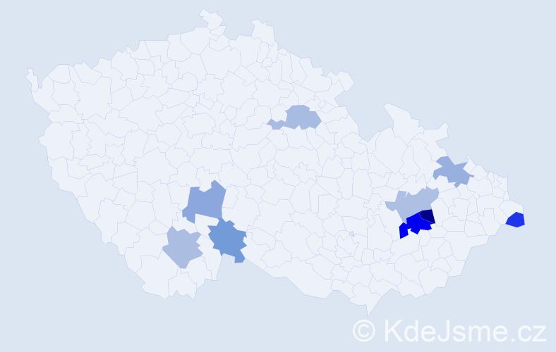 Příjmení: 'Hilovský', počet výskytů 12 v celé ČR