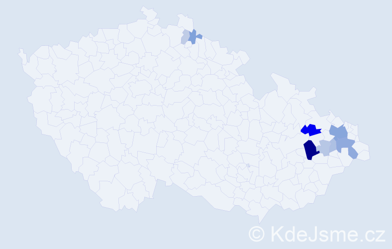 Příjmení: 'Jakel', počet výskytů 23 v celé ČR