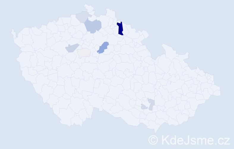 Příjmení: 'Chomanič', počet výskytů 15 v celé ČR