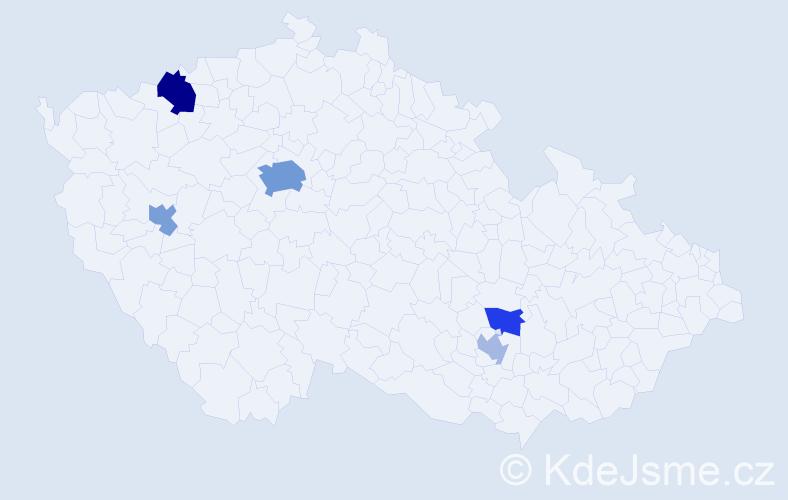 Příjmení: 'Kalčev', počet výskytů 11 v celé ČR