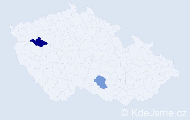 Příjmení: 'Čordáš', počet výskytů 6 v celé ČR