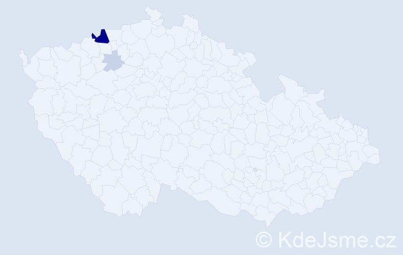 Příjmení: 'Kavorová', počet výskytů 12 v celé ČR