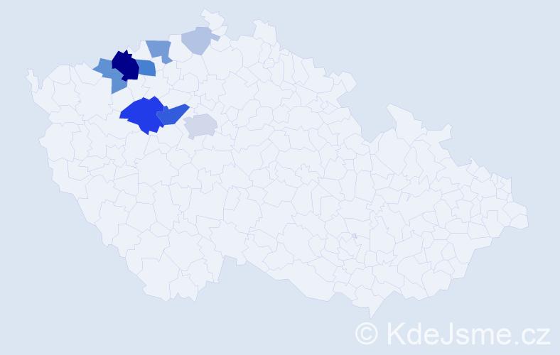 Příjmení: 'Klucová', počet výskytů 33 v celé ČR