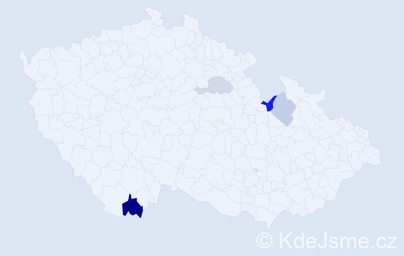 Příjmení: 'Čázar', počet výskytů 6 v celé ČR