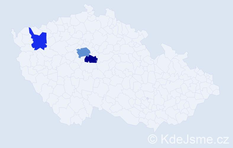 Příjmení: 'Egyházi', počet výskytů 7 v celé ČR