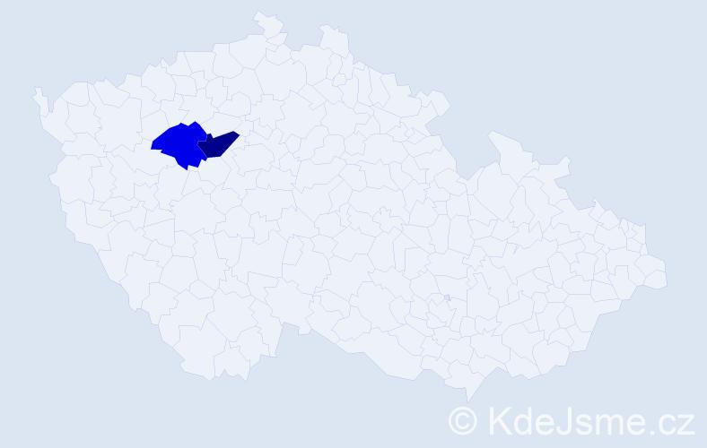 Příjmení: 'Bratičáková', počet výskytů 3 v celé ČR