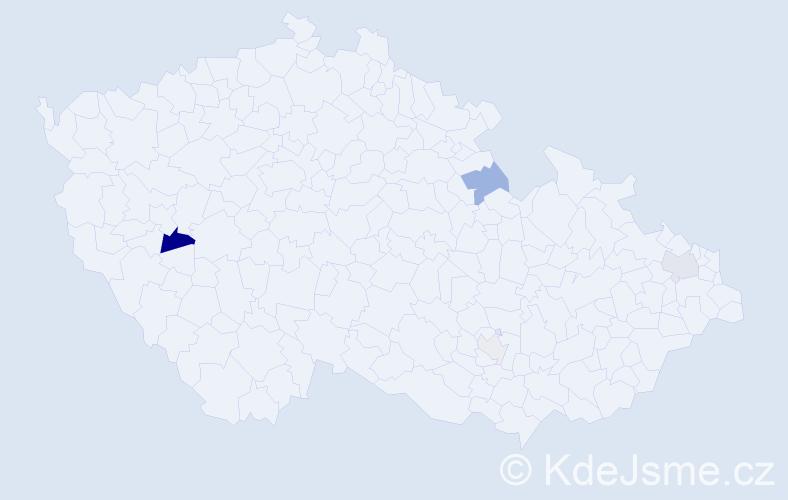 Příjmení: 'Fejová', počet výskytů 9 v celé ČR