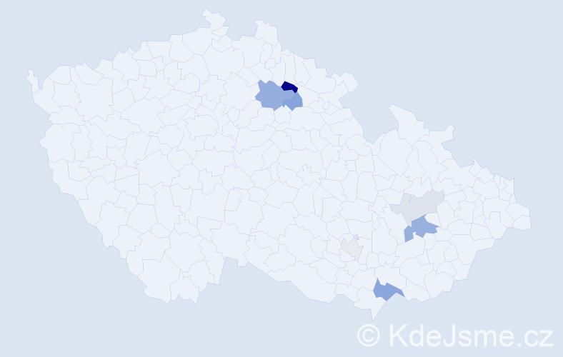 Příjmení: 'Klučák', počet výskytů 14 v celé ČR
