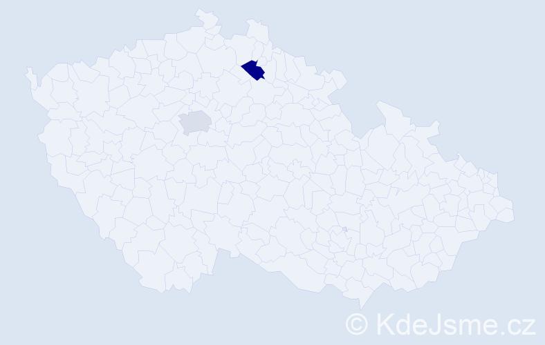 Příjmení: 'Danilevičová', počet výskytů 2 v celé ČR