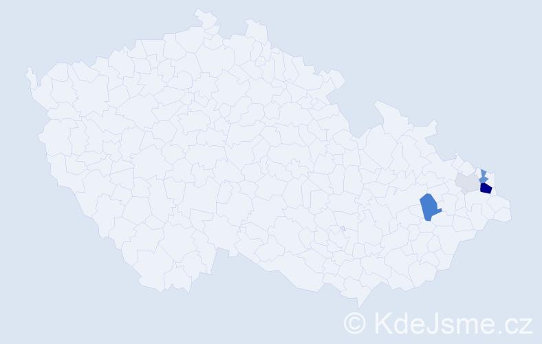 Příjmení: 'Cyž', počet výskytů 14 v celé ČR