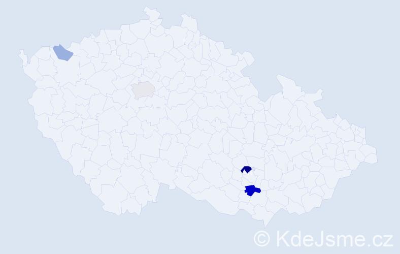 Příjmení: 'Ledbová', počet výskytů 13 v celé ČR