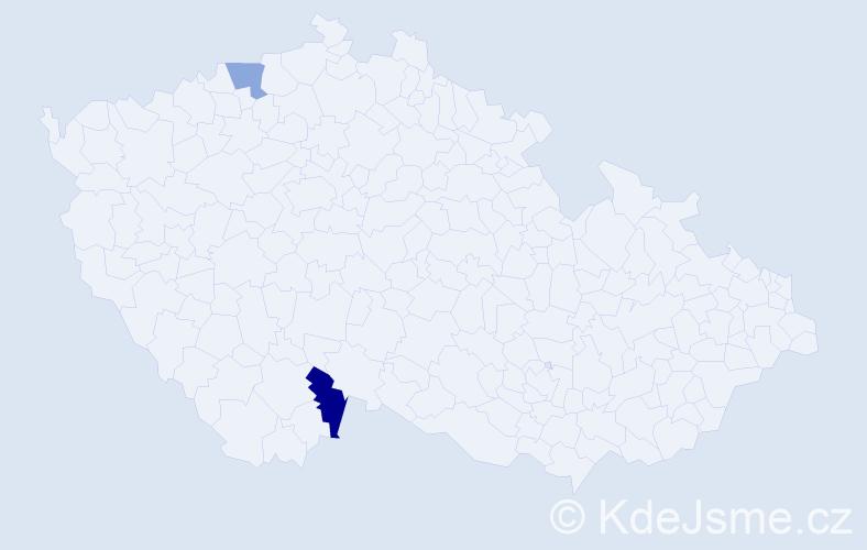 Příjmení: 'Čuli', počet výskytů 7 v celé ČR