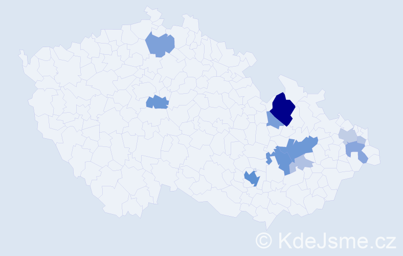 Příjmení: 'Daška', počet výskytů 35 v celé ČR