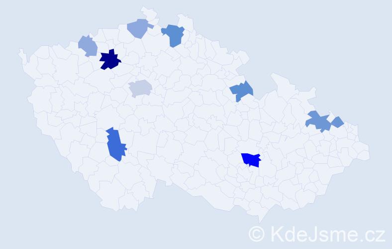 Příjmení: 'Grobár', počet výskytů 21 v celé ČR