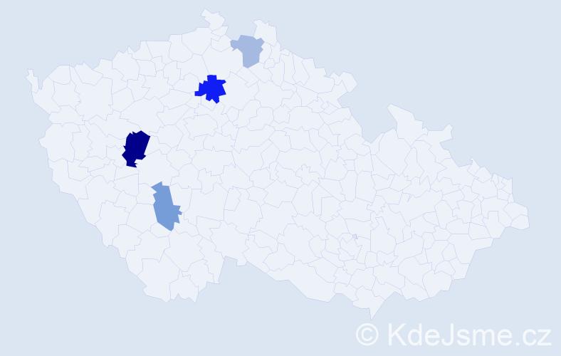 Příjmení: 'Hatan', počet výskytů 7 v celé ČR