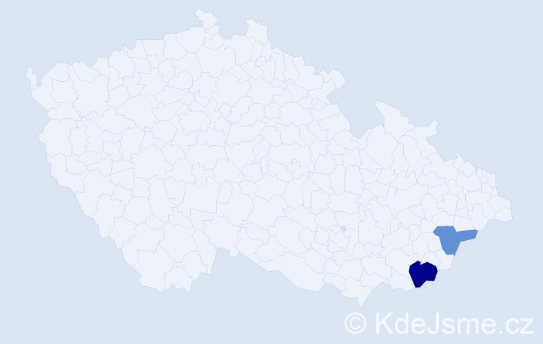 Příjmení: 'Kacellová', počet výskytů 3 v celé ČR