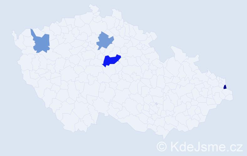 Příjmení: 'Jedlánek', počet výskytů 5 v celé ČR